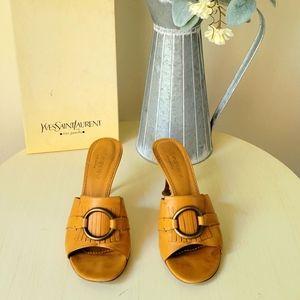 Yves Saint Laurent tan heeled sandals